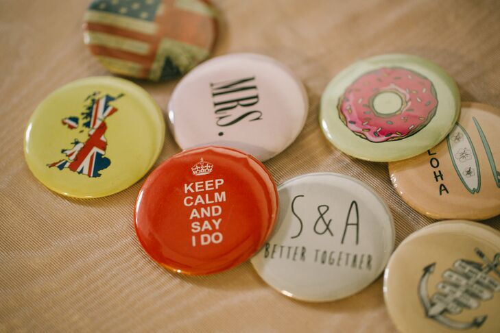 Wedding favors were personalized buttons that represented different elements in Ashley and Scott's relationship, story and marriage.