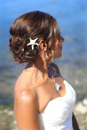 Bridal Clipped Updo and Jewelry