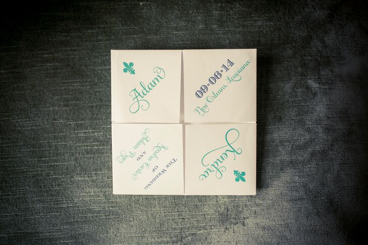 Now this brings back a few memories. Incorporating their childhoods and Louisiana's famous fleurs-de-lis, Kendra and Adam made their programs into paper fortune tellers. A middle school favorite, these accents unveiled different pieces of information under each square. In this case, it was the details of their wedding.