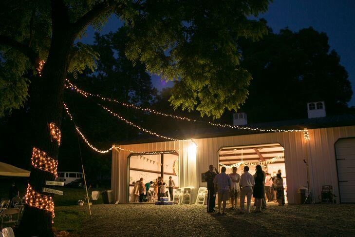 String Lit Barn Reception on North Carolina Private Residence