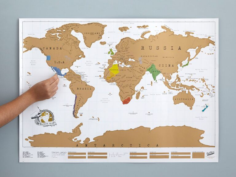 World scratch-off map unique engagement gift