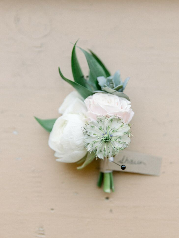 White-and-Green Boutonniere for Minnesota Wedding