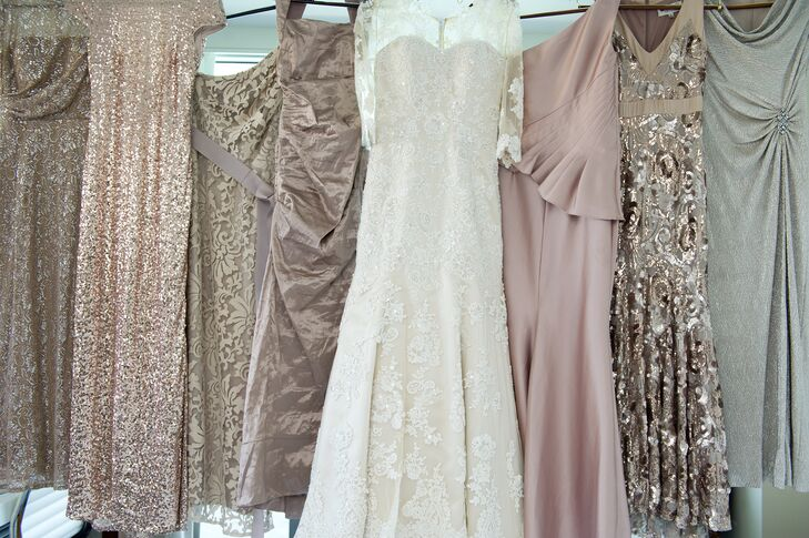 Each bridesmaid was asked to wear a champagne colored dress in whichever style they wanted  for the wedding, says Shira.