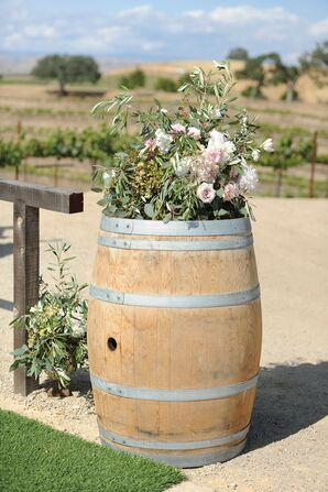 Wine Barrel Ceremony Flower Display