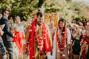 Recessional During Indian Wedding at Overbrook House in Buzzards Bay, Massachusetts