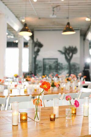 Minimal Wedding Centerpieces at the Unique Space in Los Angeles, California