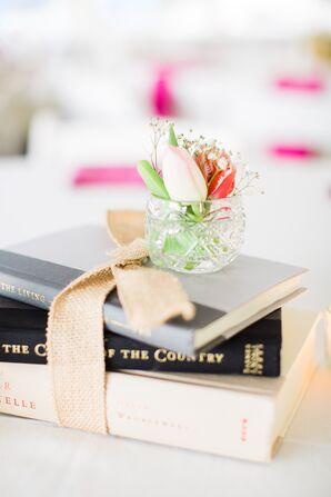 Burlap Bow-Tied Vintage Book Wedding Reception Centerpieces