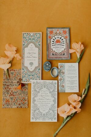 Patterned Invitations for Indian Wedding at Overbrook House in Buzzards Bay, Massachusetts