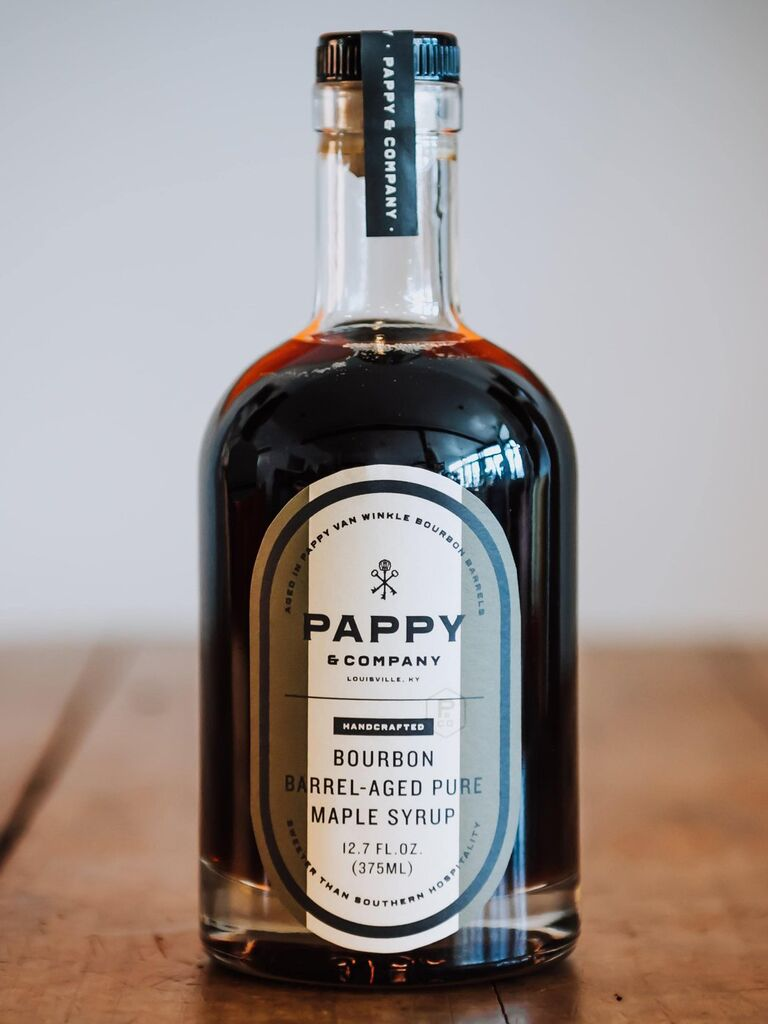 Bottle of Pappy and Co bourbon maple syrup Valentine's gift idea