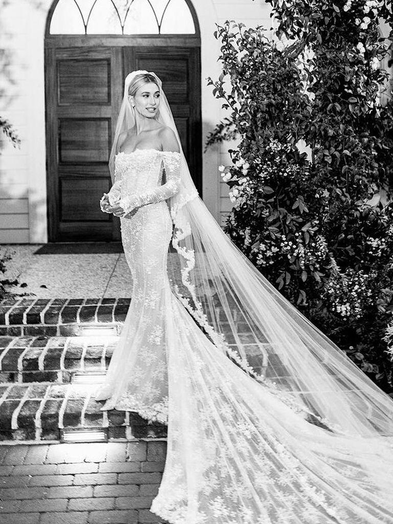 Hailey Baldwin's long sleeve lace wedding dress