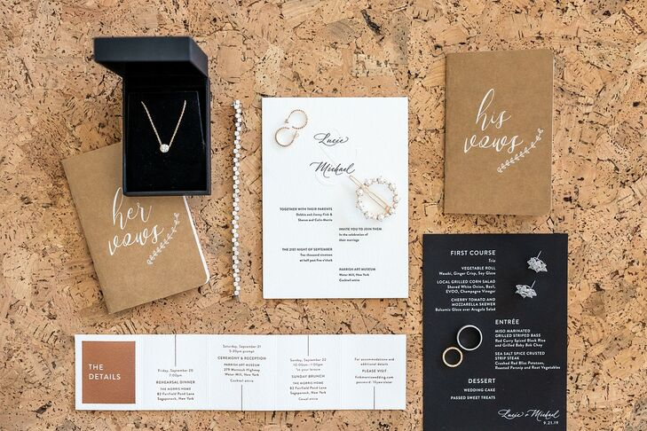 Modern and Neutral Wedding Invitations, Menu and Vow Books