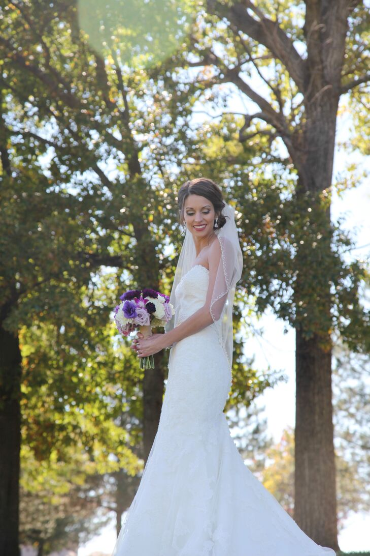 A lace gown with a hint of shimmer was fitting both of Katie's personal style and the wedding's rustic theme. The mermaid style gown by Allure featured all over lace and delicate beading along the sweetheart neckline.