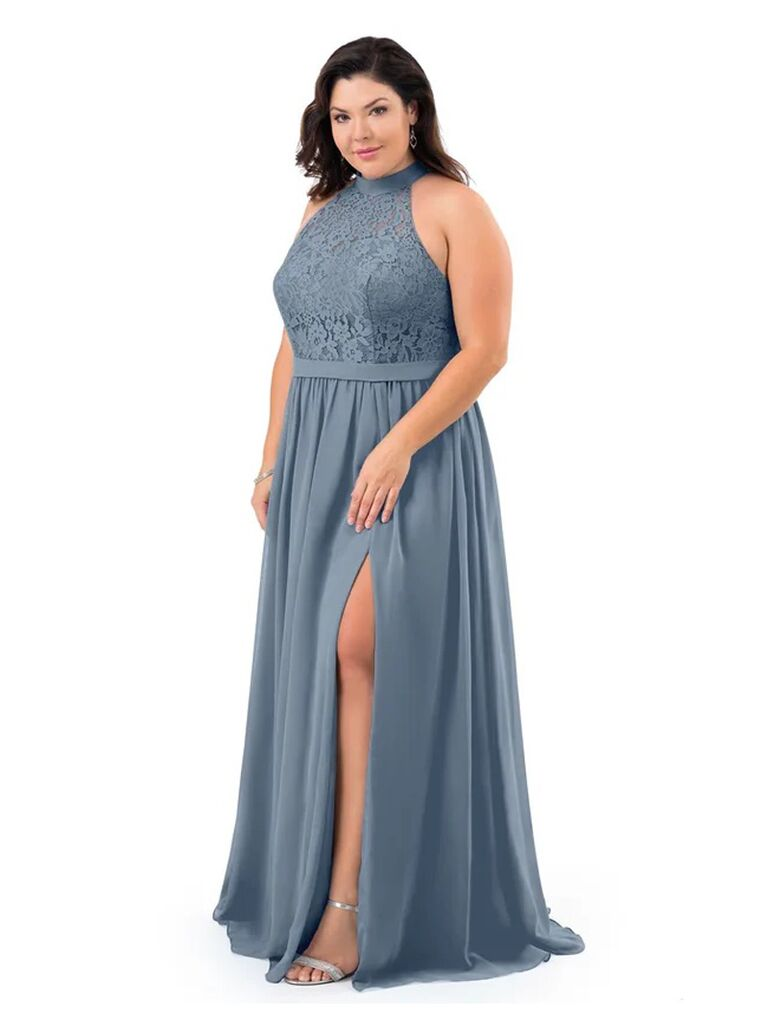 azazie grey winter bridesmaid dress with lace