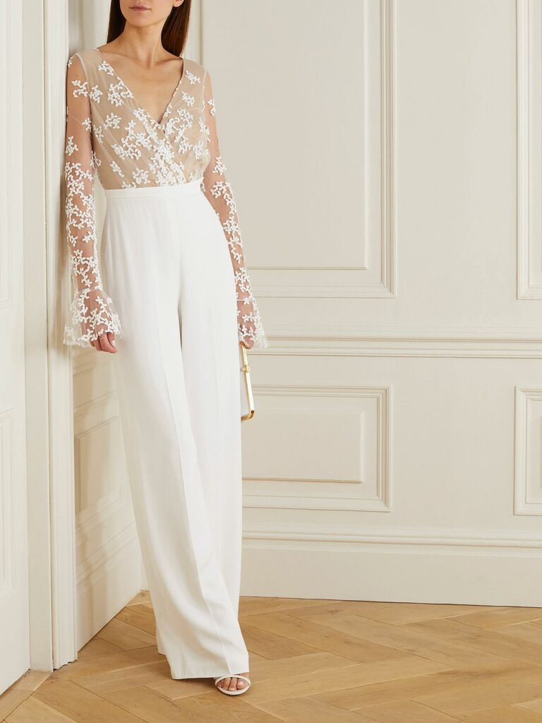 wedding jumpsuit with lace sleeves