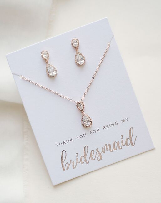 USABride Georgia CZ Bridesmaid Jewelry Set (JS-1674-BR) Wedding Necklaces photo