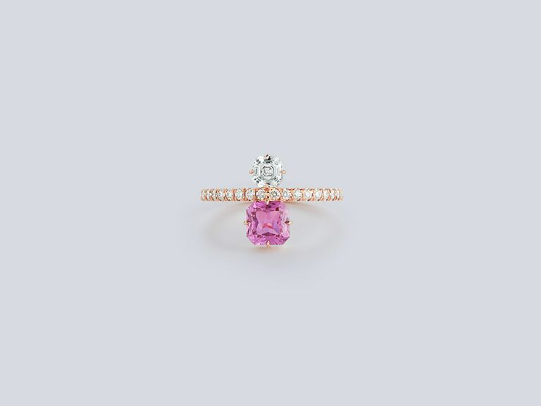 Pink Sapphire and Asscher Cut Two stone diamond ring