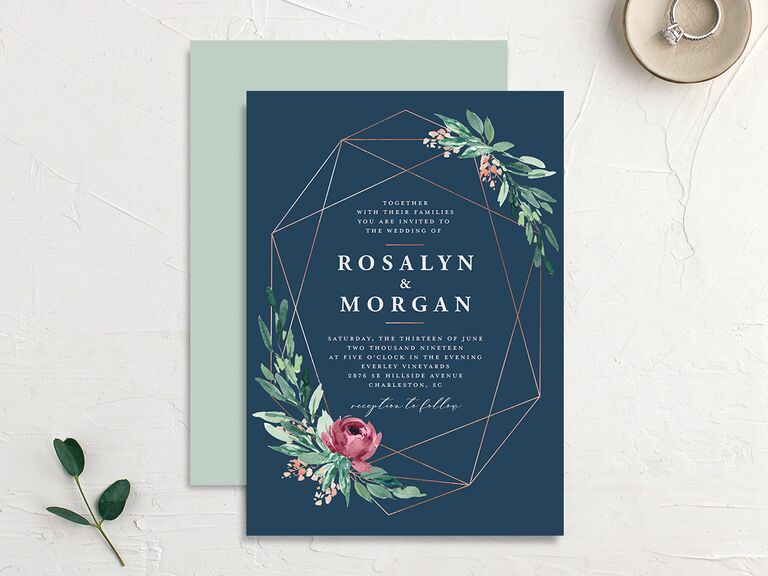 Summer wedding invitation with geometric lines