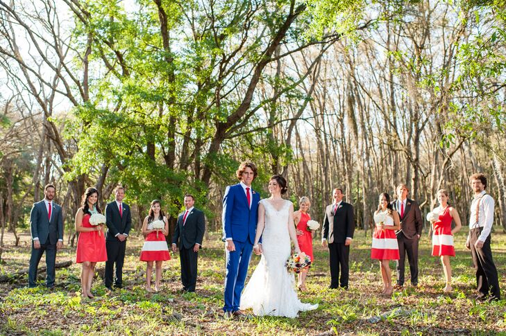 """The bridesmaids wore these red and white LulaKate dresses from Bella Bridesmaids in Tampa, Florida, with different necklines.  """"It was nice to have their own style and I really didn't want matching dresses,"""" Sarah says. Mint accessories as well as white hydrangea bouquets wrapped in rope tied their looks together."""