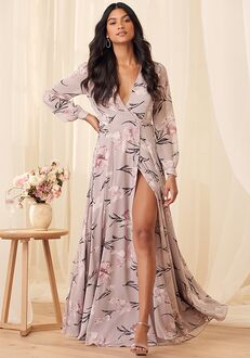 Lulus Loving You Dusty Purple Floral Print Long Sleeve Wrap Maxi Dress Bridesmaid Dress