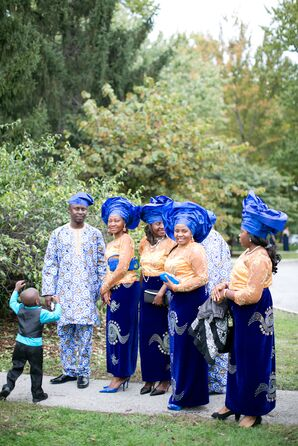 Traditional Blue and Gold Nigerian Wedding Attire