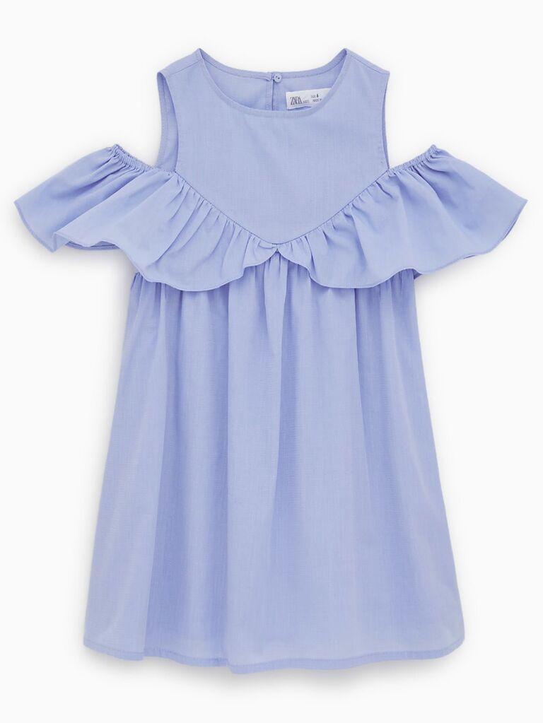Zara ruffled poplin dress
