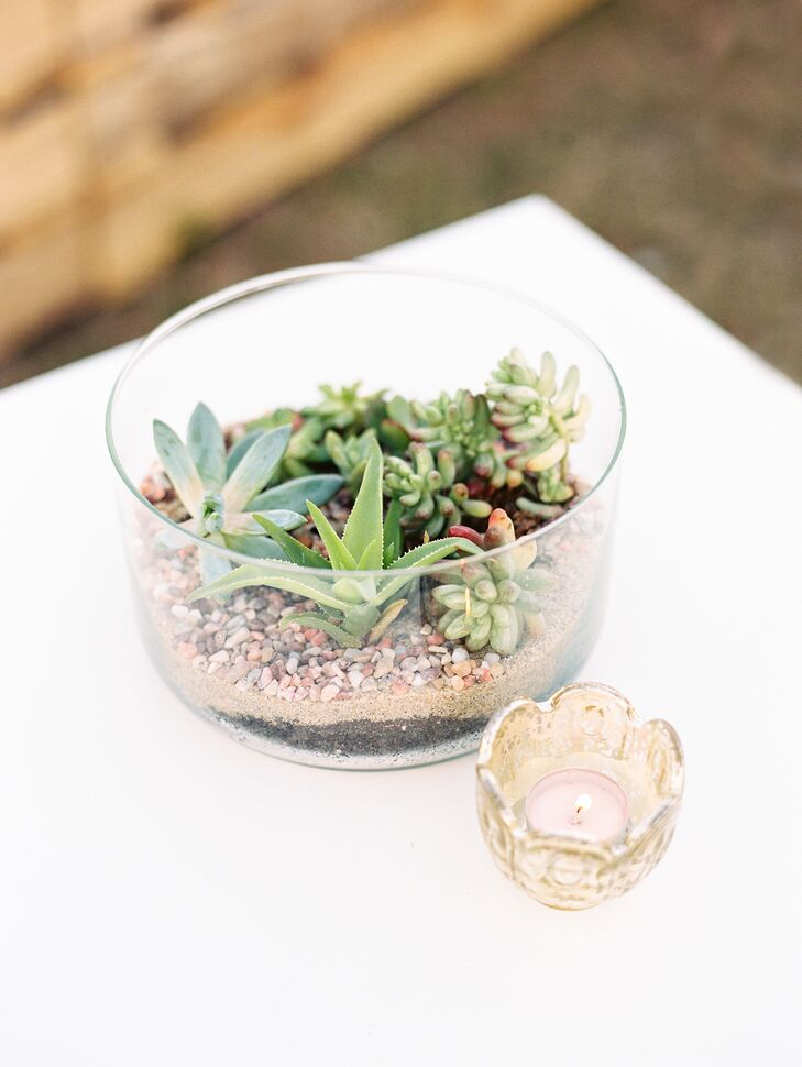 Baby Succulent, Gold Candle Wedding Reception Centerpieces
