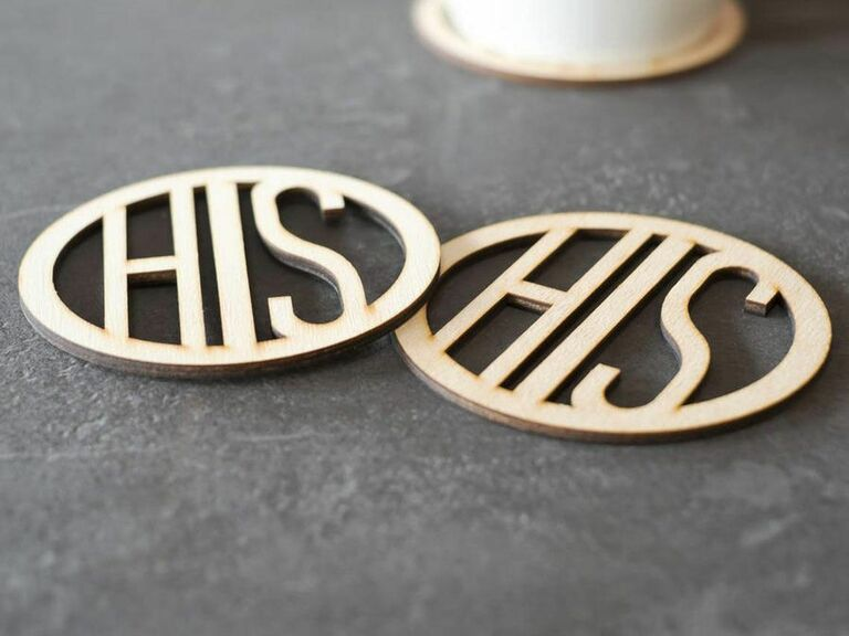his and his matching coasters gift for newlyweds