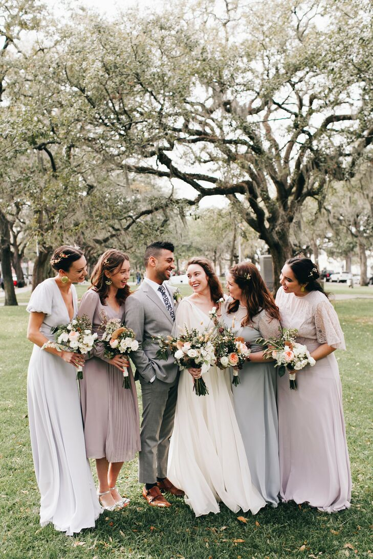 Classic Southern Wedding Party in Neutral Pastel Attire