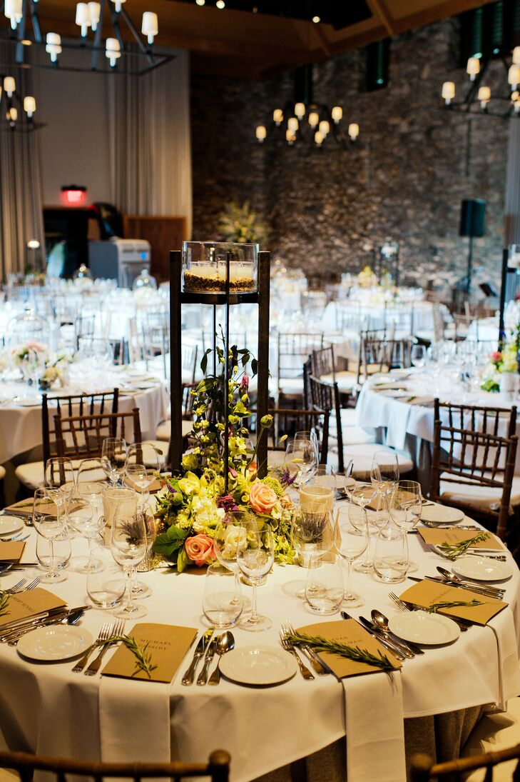 The mixed arrangements featured flowers, fruits, greens and candles.