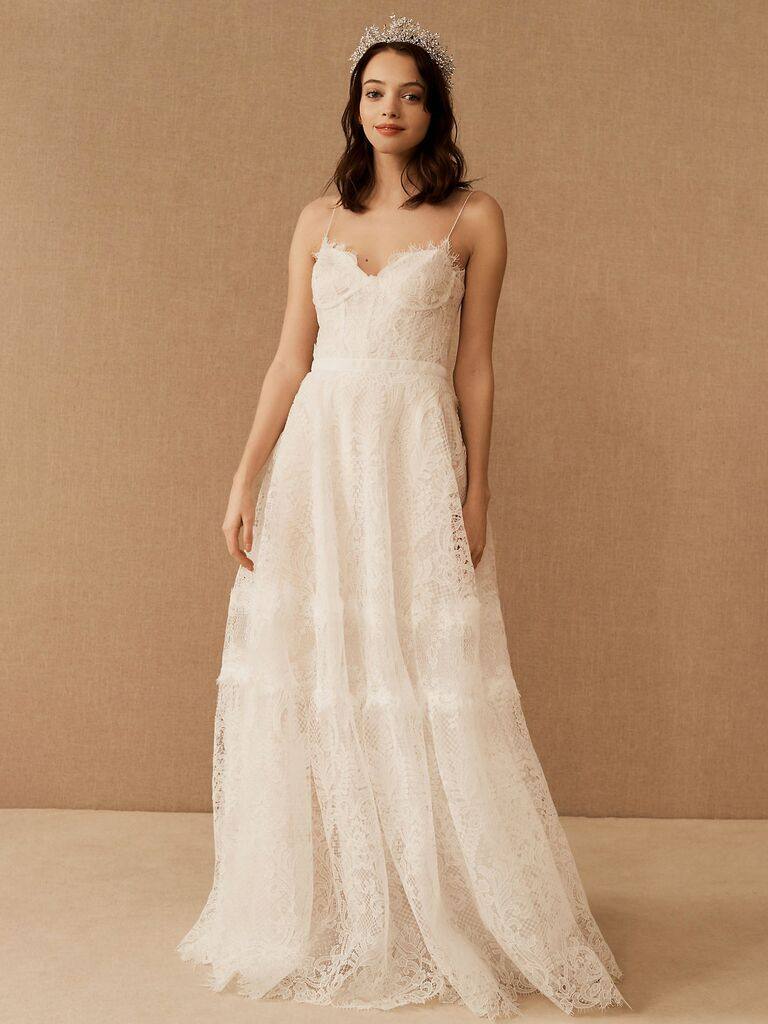 A-line lace dress with spaghetti straps