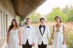 Grooms with Wedding Party in White Summer Dresses