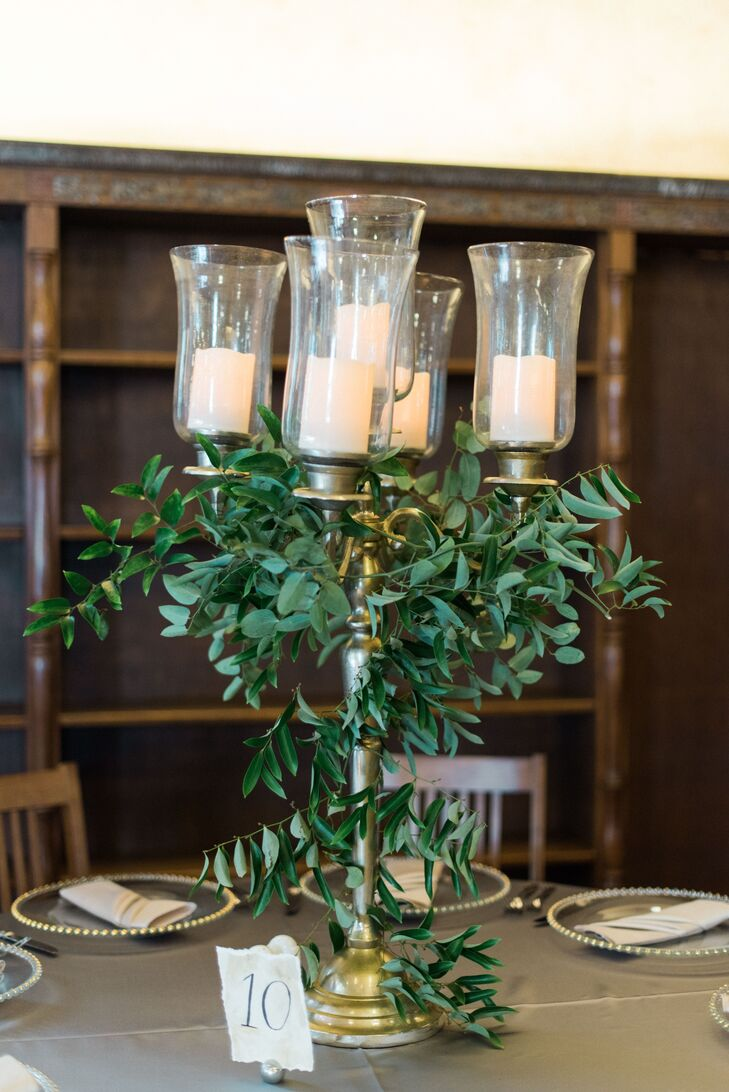 Vintage Candelabra Centerpiece with Greenery