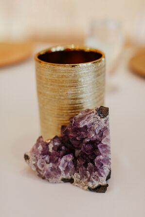Modern Purple Geode with Gold Centerpiece