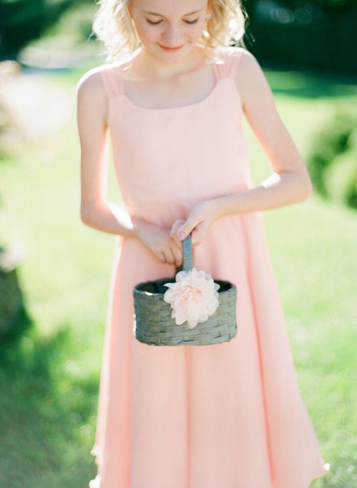 Gray Flower Girl Basket
