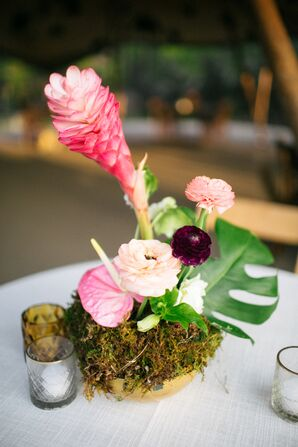 Tropical Floral Arrangement at Wedding in Driftwood, Texas