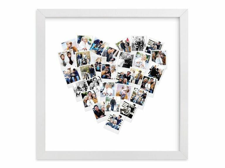 Framed heart-shaped collage of photos Valentine's gift