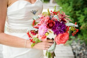 Red, Purple and Pink Bridal Bouquet