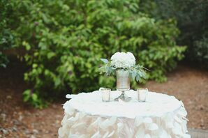 Hydrangea and Eucalyptus Cocktail Hour Centerpieces