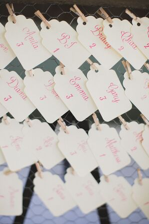 Pink Calligraphed Escort Cards