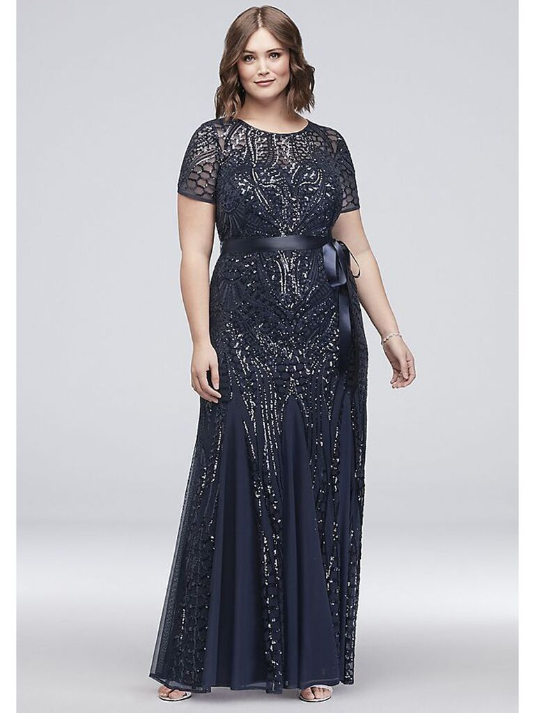 Navy formal dress with cap sleeves and intricate beading