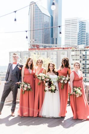 Coral A-Line Chiffon Bridesmaid Dresses