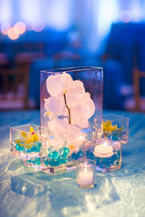 Modern Orchid and Blue Bead Centerpieces