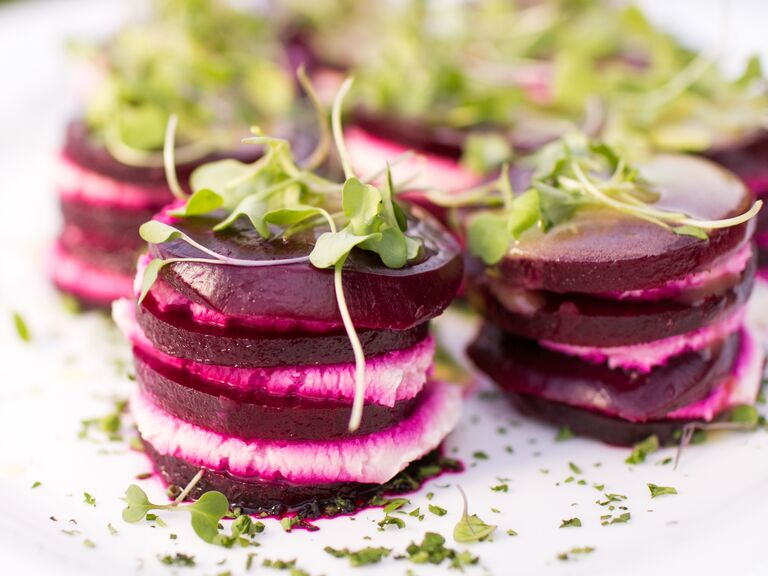 Beet appetizers hand-passed at a wedding cocktail hour