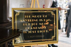 Black and Gold Art Deco Gatsby Quote Sign