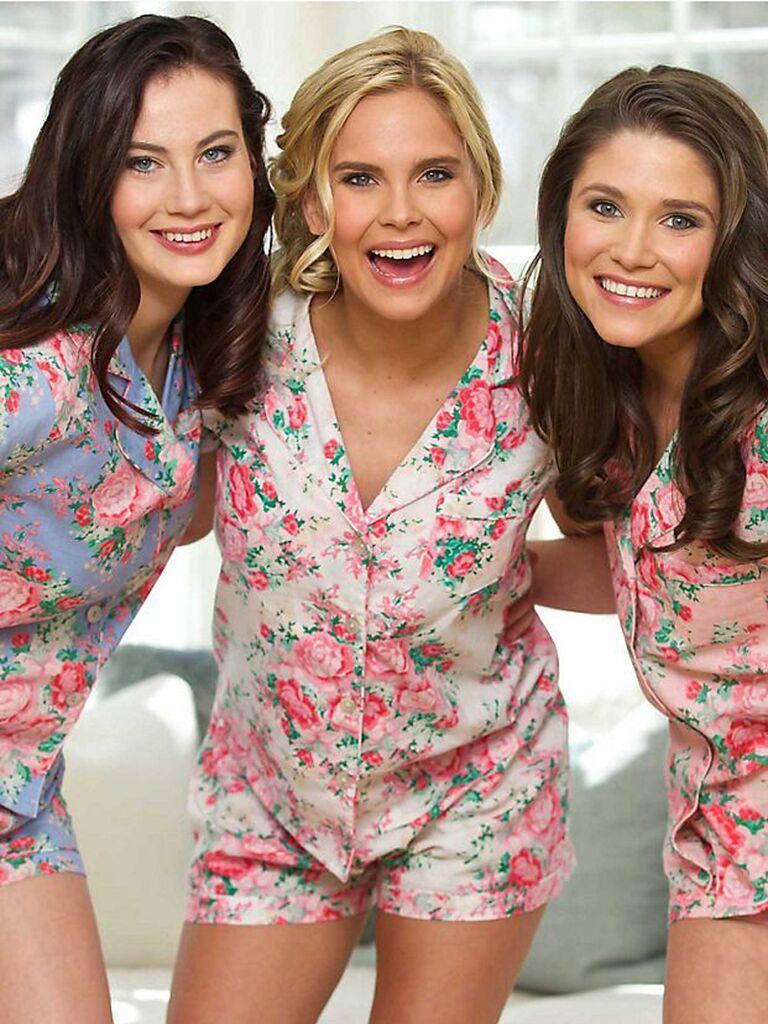 Mismatched floral bridesmaid pajama sets