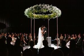 Modern Dark Ceremony with Round Greenery Chuppah