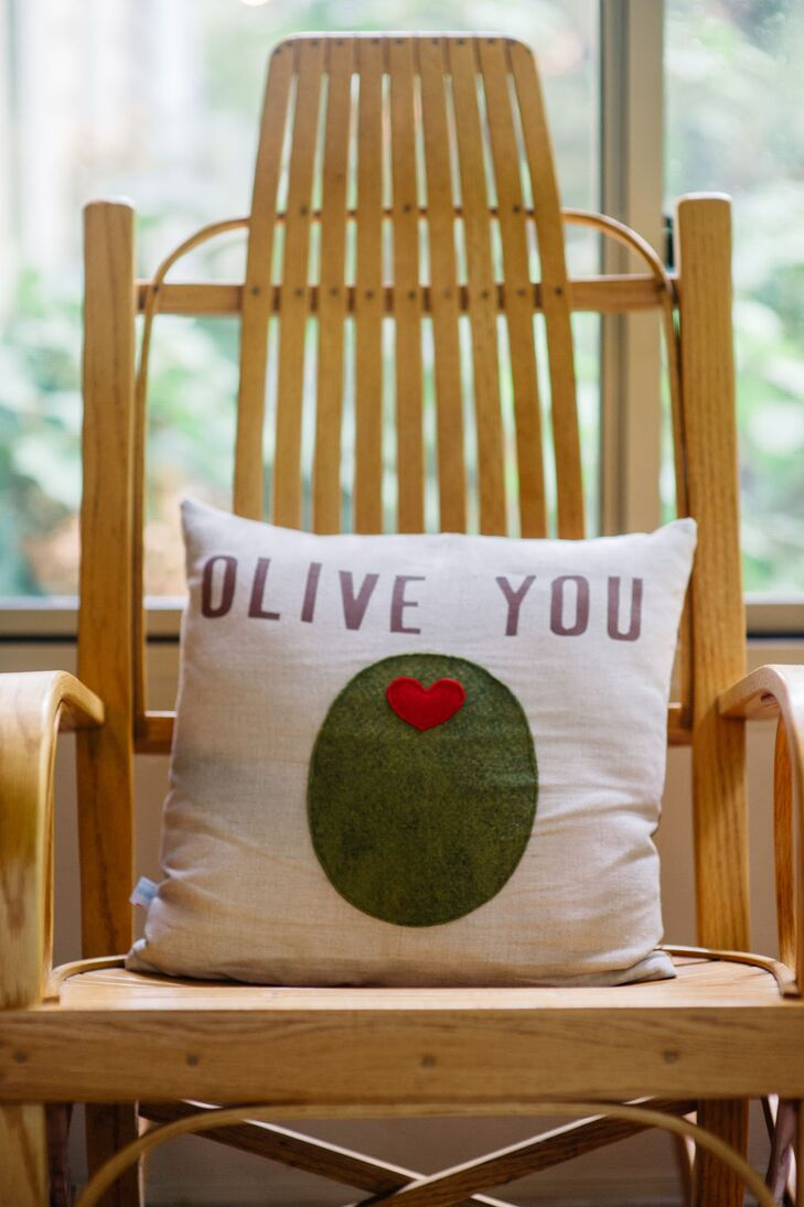 """Olive You"" White Pillow on Chair"