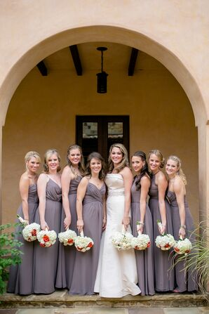 Taupe Bridesmaids Dresses at Escondido Golf and Lake Club