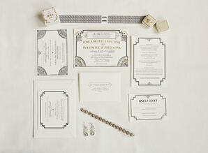 Glam Metallic Art Deco Wedding Invitations