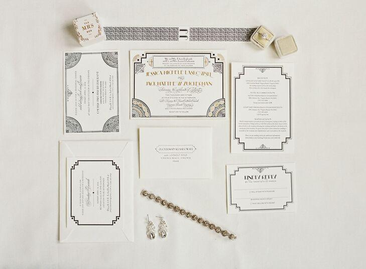 Glam Metallic Art Deco Wedding Invitations